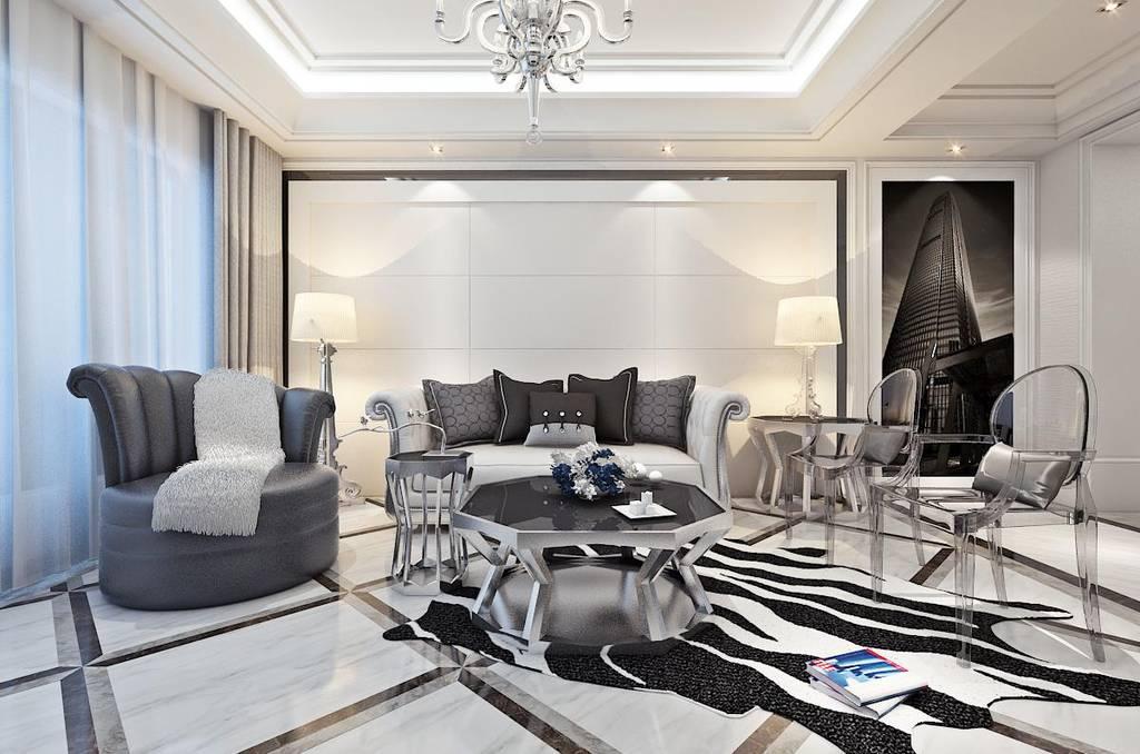 简欧客厅贝博国际在线效果图,优雅而美丽