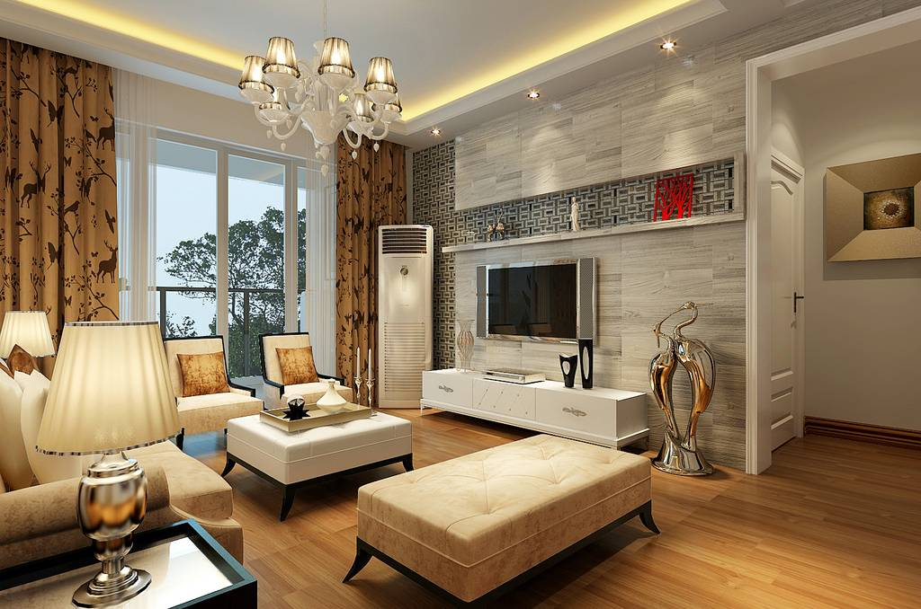 现代简约风格客厅装修效果图